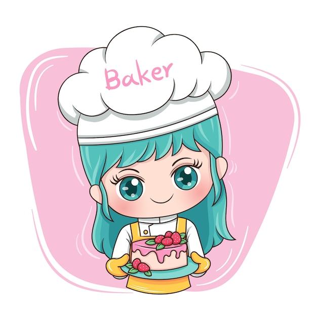 Mujer panadera Vector Premium