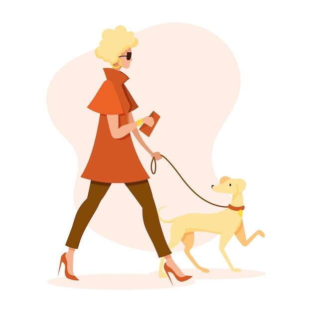 Mujer paseando al perro vector gratuito