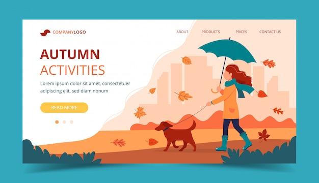 Mujer paseando a un perro en otoño con paraguas. plantilla de página de aterrizaje. Vector Premium