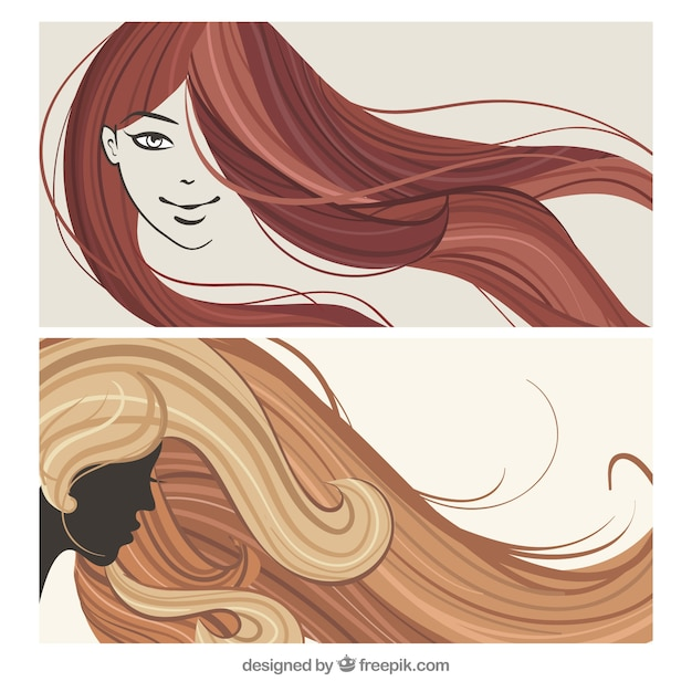 Mujer peinados Vector Premium