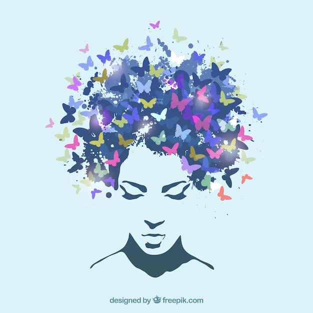 Mujer con pelo hecho de mariposas vector gratuito