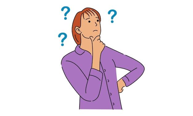 Mujer de pensamiento con signos de interrogación Vector Premium