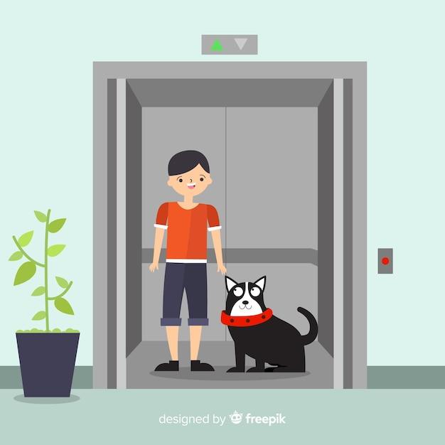 Mujer con perro en ascensor vector gratuito