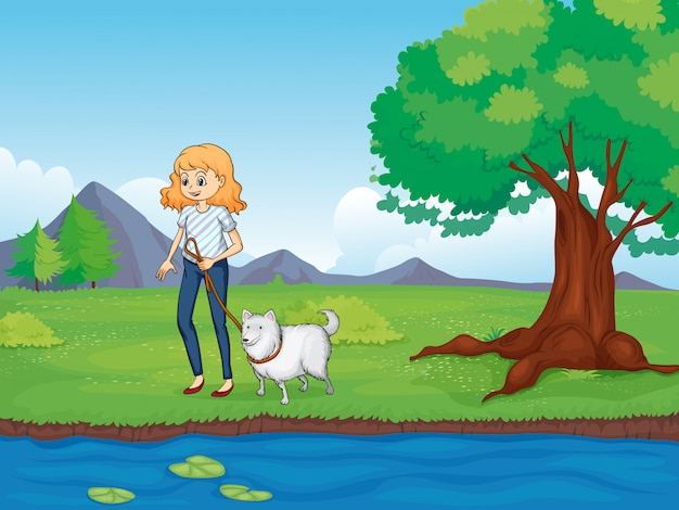 Una mujer con un perro caminando por el río. vector gratuito