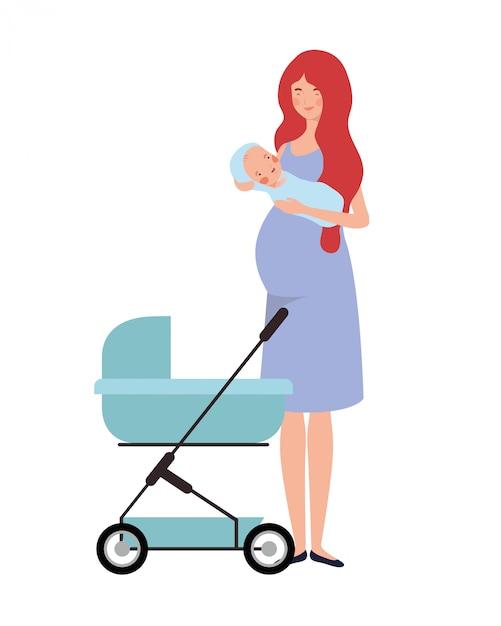 Mujer de pie con un bebé recién nacido en cochecito Vector Premium