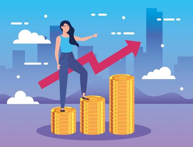 Mujer en pilas de monedas con flecha arriba infografía vector gratuito