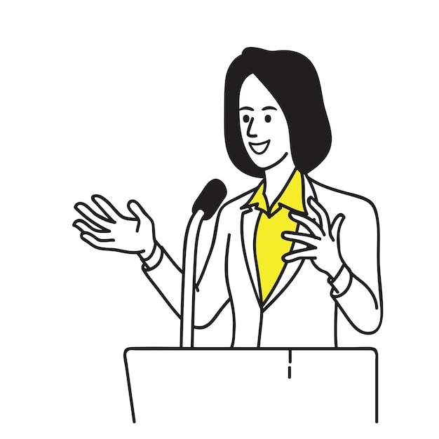 Mujer política en el podio Vector Premium