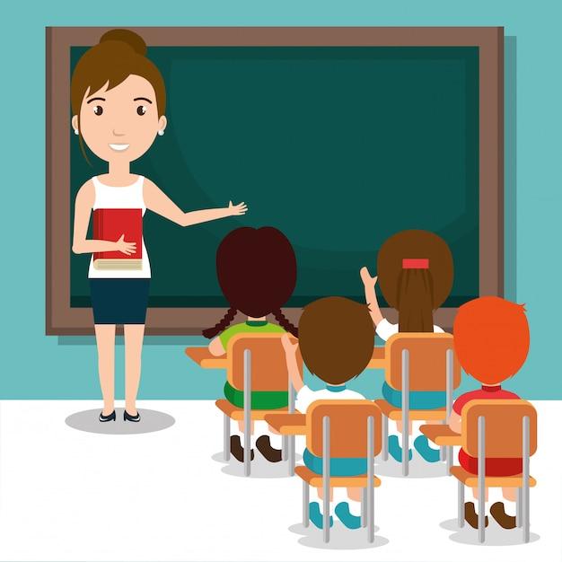 Mujer profesora con alumnos en el aula vector gratuito