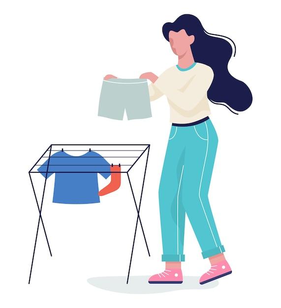 Mujer puso su ropa a secar en la cuerda. ropa en la línea de lavado. camiseta y calcetín, toalla. ilustración con estilo Vector Premium