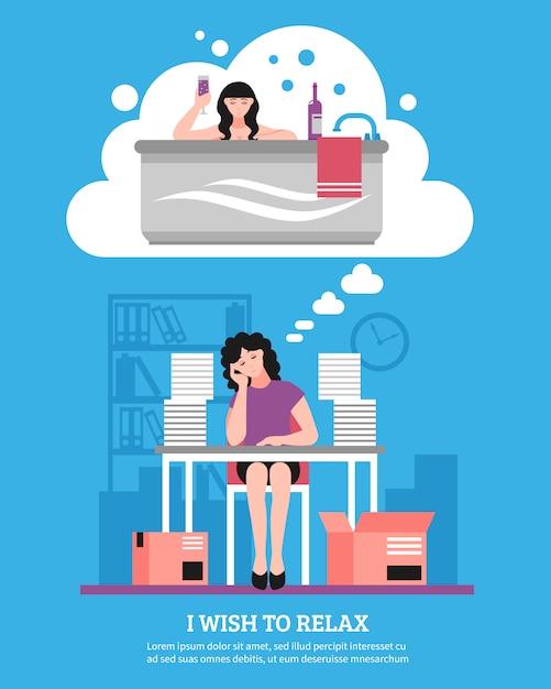 Mujer que desea relajarse ilustración plana vector gratuito