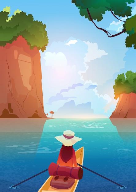 Mujer que flota en barco en el concepto de las vacaciones de la aventura del verano del lago de las montañas Vector Premium
