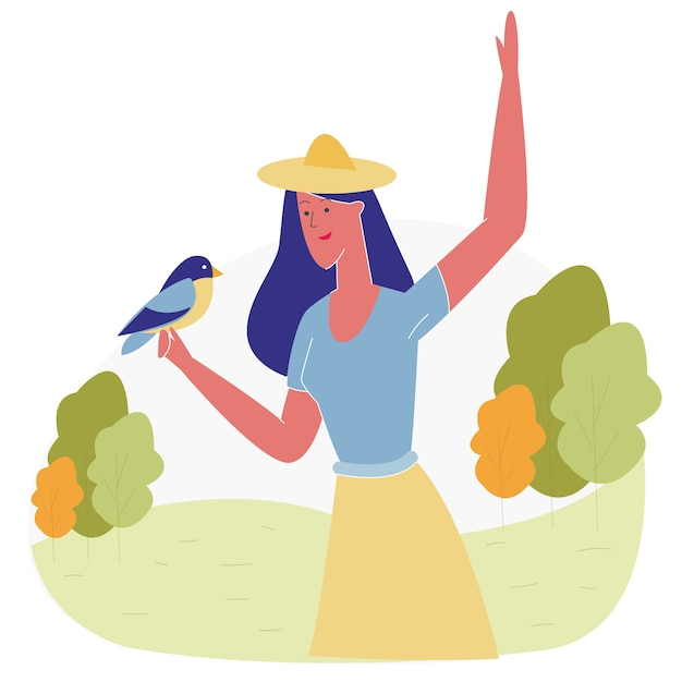 Mujer que pasa tiempo en el parque de animales alimentando aves Vector Premium