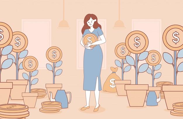 Mujer que sostiene la ilustración del esquema de la historieta de la moneda de oro. concepto de negocio para la inversión. Vector Premium