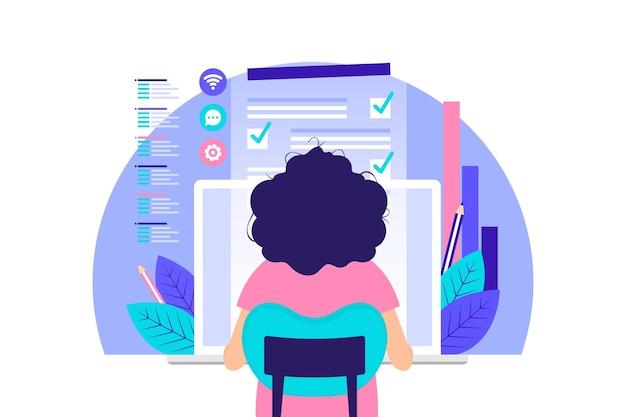 Mujer que trabaja en la computadora vector gratuito
