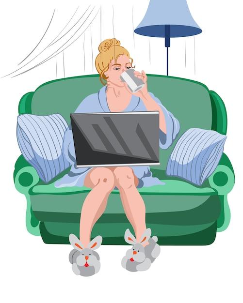 Mujer que trabaja desde su casa en una computadora portátil. vector gratuito