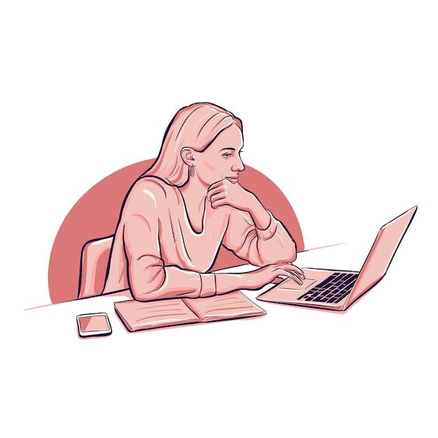 Mujer que trabaja con un teléfono inteligente portátil y portátil vector gratuito