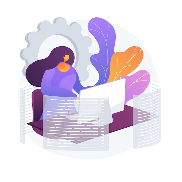 Mujer que usa la computadora en el trabajo. secretaria profesional, desarrolladora web, emprendedora autónoma. flujo de trabajo autónomo, trabajo remoto. personaje de dibujos animados de empleado. ilustración de metáfora de concepto aislado de vector vector gratuito