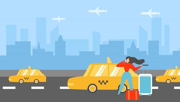 Mujer que viaja que llama concepto plano del vector del taxi Vector Premium