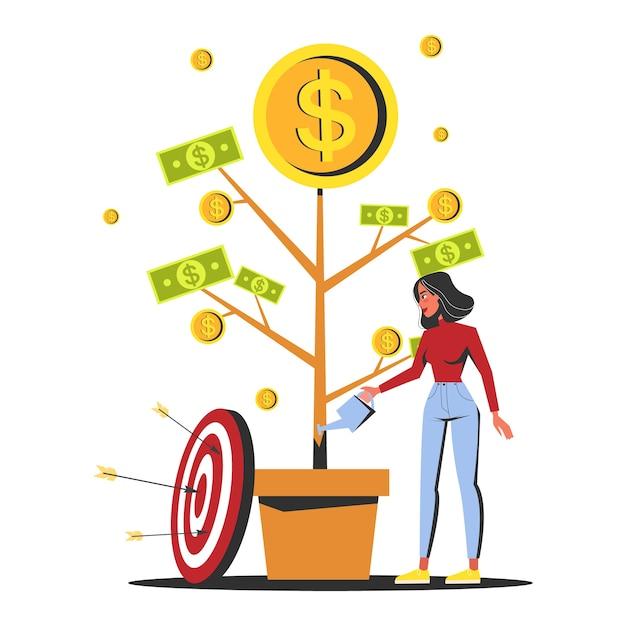 Mujer regando el árbol del dinero que crece en una maceta Vector Premium