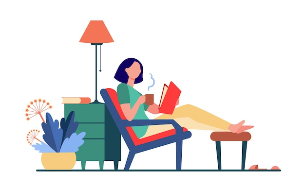 Mujer relajante en casa. chica bebiendo té caliente, libro de lectura en la ilustración de vector plano sillón. ocio, tarde, literatura vector gratuito