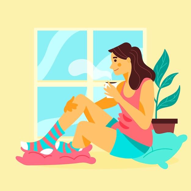 Mujer relajante en casa con una taza de café vector gratuito