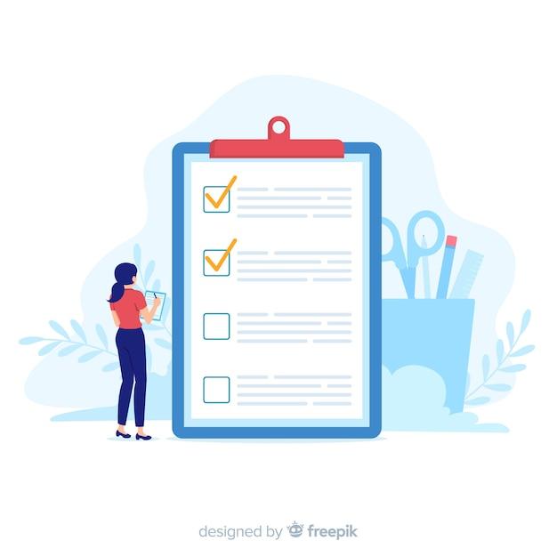 Mujer revisando una lista de tareas gigante vector gratuito
