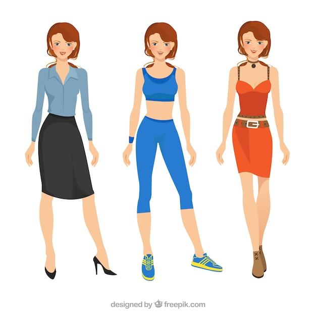 Mujer con ropa diferente Vector Premium