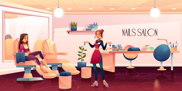 Mujer en salón de pedicura para procedimiento de cuidado de uñas vector gratuito