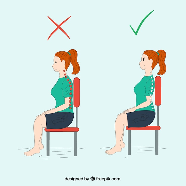 Mujer sentada de forma correcta e incorrecta vector gratuito