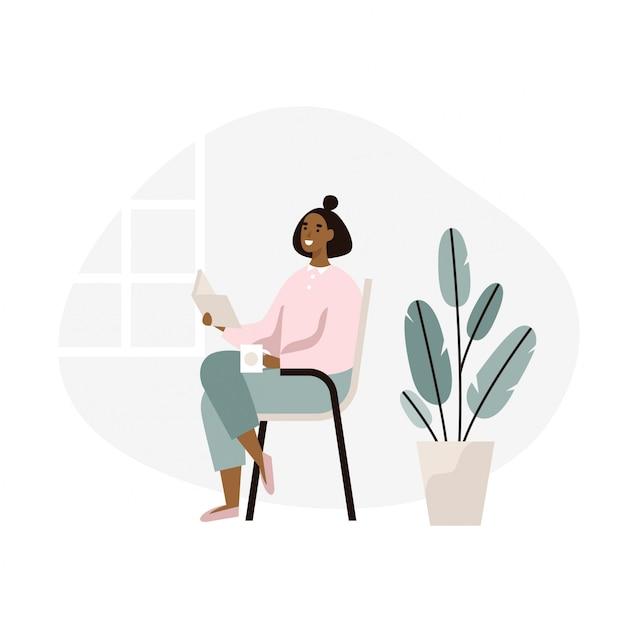 Mujer sentada y leyendo un libro en casa. descanso de fin de semana, relajación. ilustración plana Vector Premium