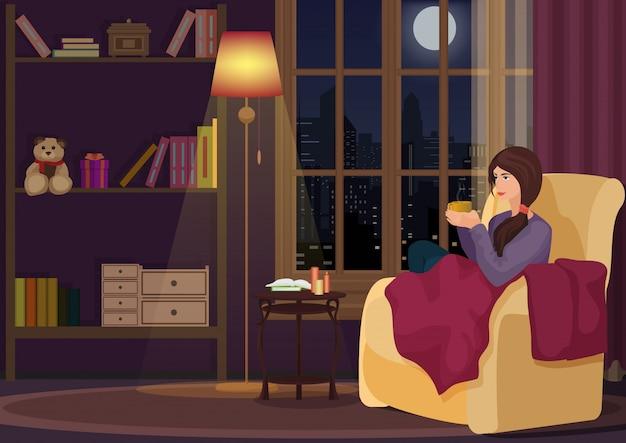 Mujer sentada en la sala de estar y tomando café Vector Premium