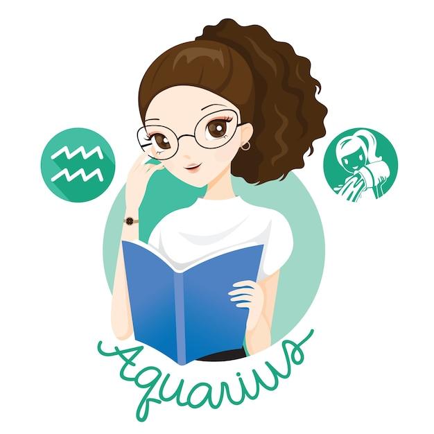 Mujer con signo del zodiaco acuario Vector Premium