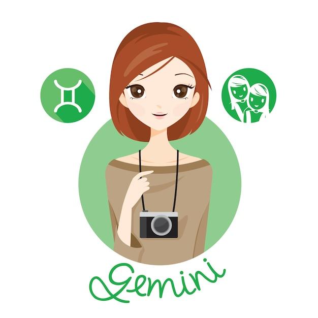 Mujer con signo del zodíaco géminis Vector Premium