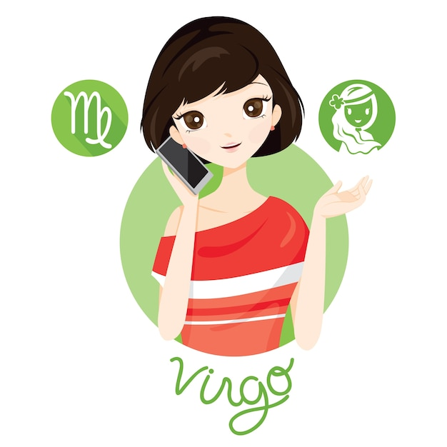 Mujer con signo del zodiaco virgo Vector Premium