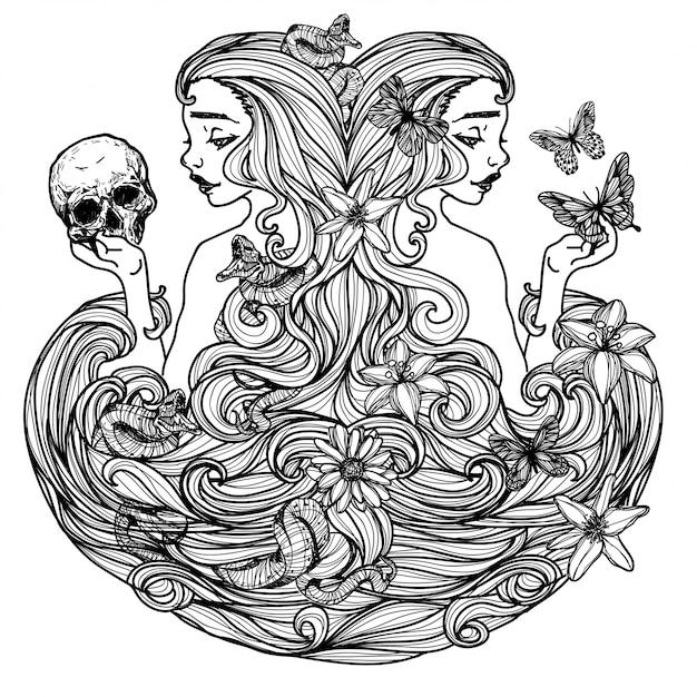 Mujer sosteniendo un cráneo de mariposa dibujo y boceto en blanco y negro Vector Premium