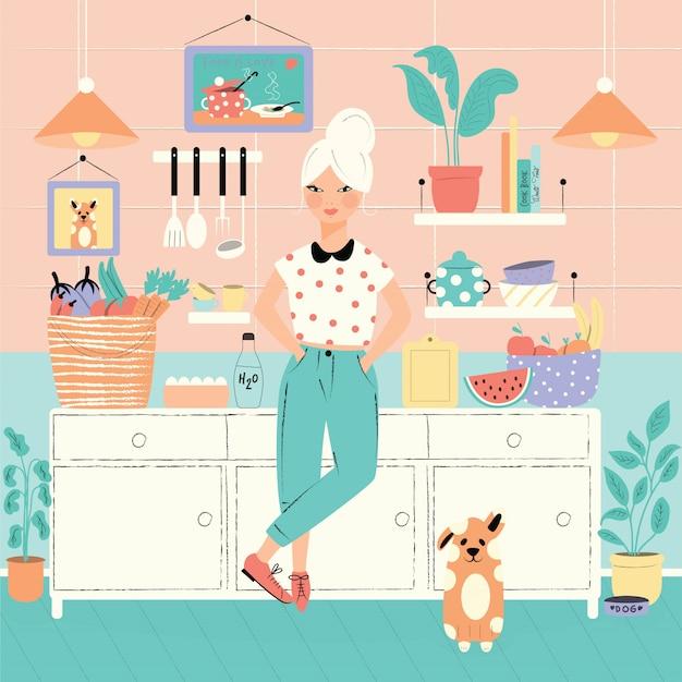 Una mujer en su cocina con comida y perro Vector Premium