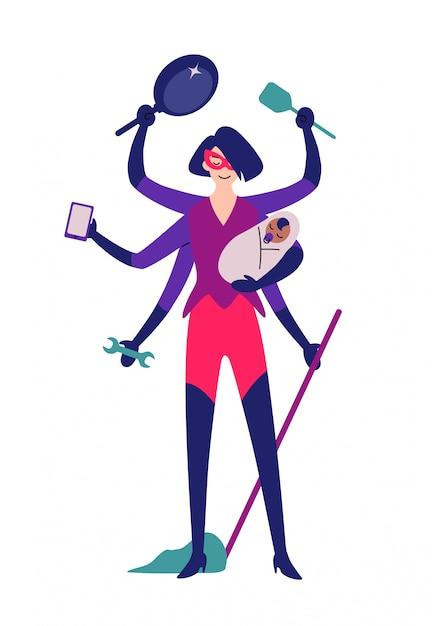 Mujer superhéroe lista para la limpieza. Vector Premium