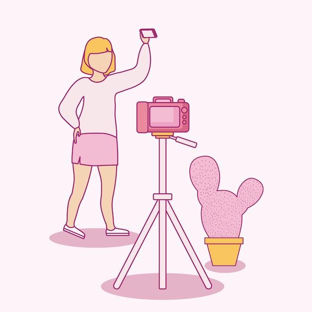 Mujer tomando selfie con teléfono inteligente y cámara fotográfica Vector Premium