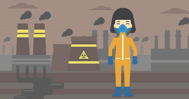 Mujer en traje de protección radiológica. Vector Premium