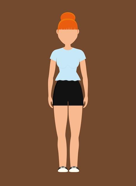 09373830d Mujer vestida con ropa casual icono de dibujos animados