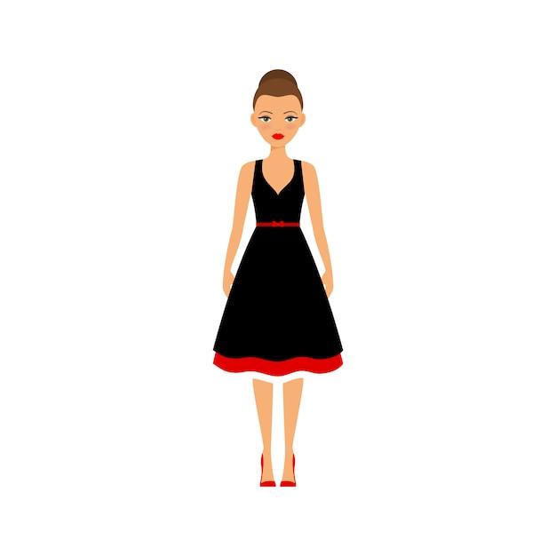Mujer en vestido negro y rojo Vector Premium