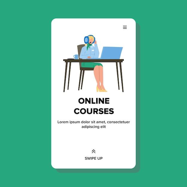 Mujer viendo cursos online educación Vector Premium
