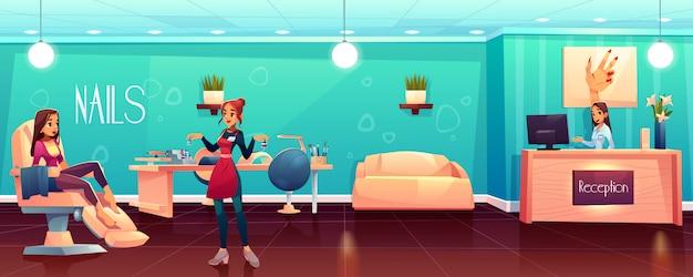 Mujer visitando salón de uñas cartoon vector gratuito
