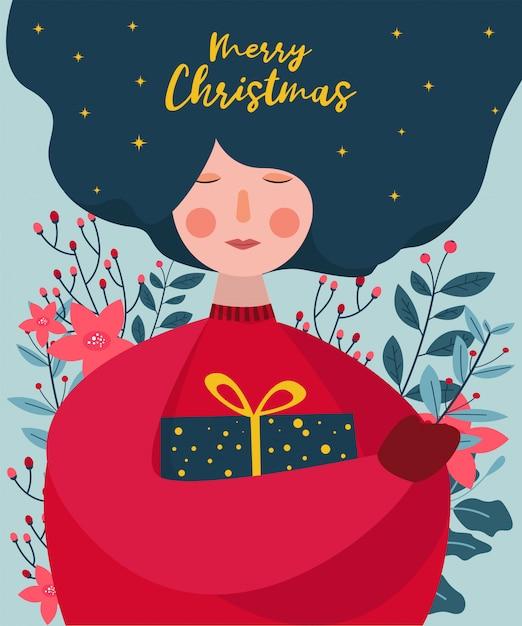Las mujeres abrazan una caja de regalo con hojas y flores detrás de la ilustración de la tarjeta de felicitación de navidad Vector Premium