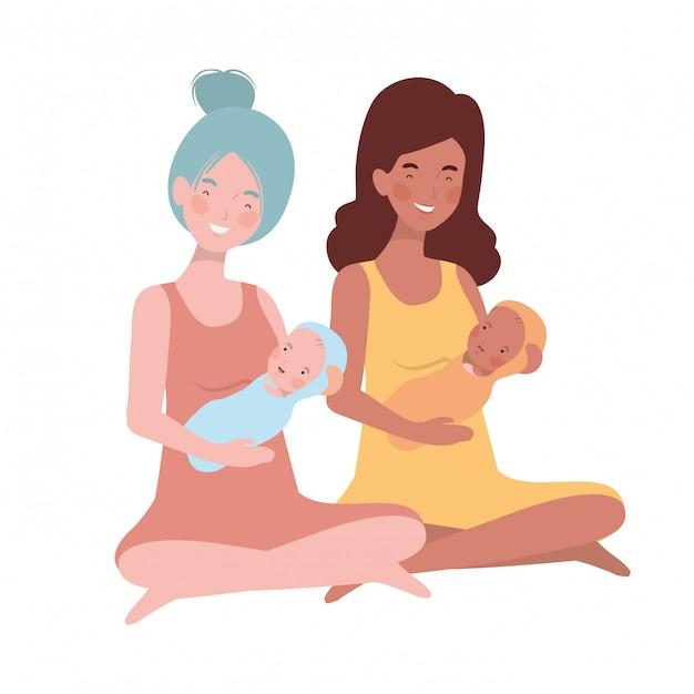 Mujeres con un bebé recién nacido en sus brazos. Vector Premium