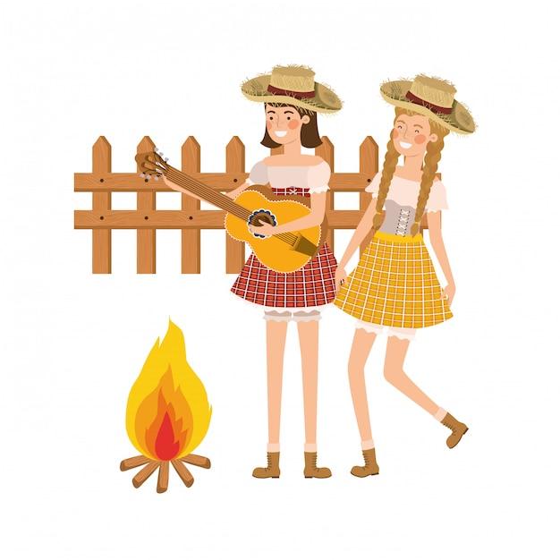 Mujeres campesinas con instrumento musical. vector gratuito