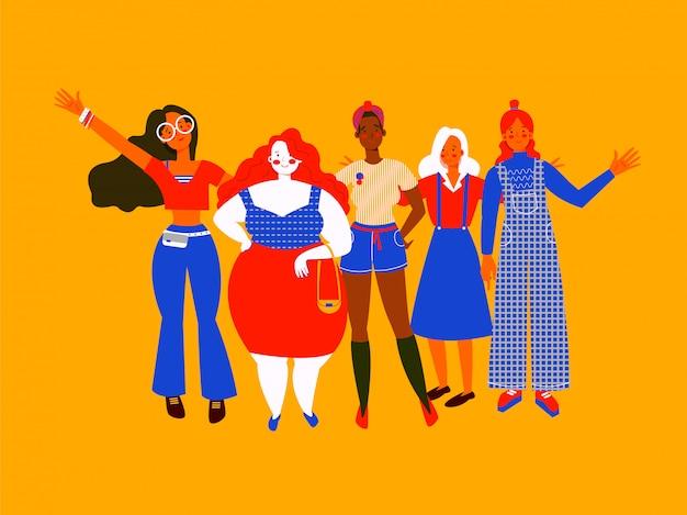 Mujeres de diferentes tipos de cuerpo y color de piel saludando con alegría. diferentes chicas en ropa diferente, estilo plano sobre fondo amarillo. tarjeta de felicitación del día internacional de la mujer o volante. Vector Premium