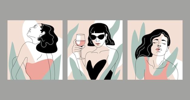 Mujeres en elegante diseño de estilo de arte lineal vector gratuito