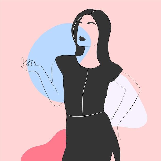 Mujeres en un elegante estilo de arte lineal vector gratuito