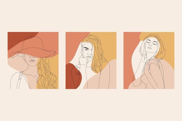 Mujeres en un elegante estilo de arte lineal Vector Premium